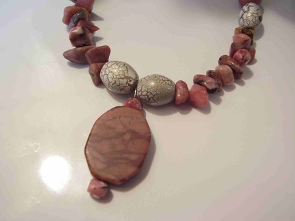 Pink and Marble Necklace