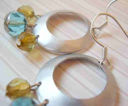 Silver and Crystal Hoop Earrings