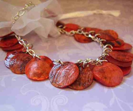 Red Shell Coin Charm Bracelet