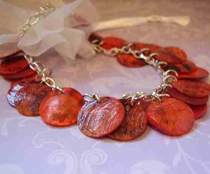 Red Shell Coin Charm Bracelet
