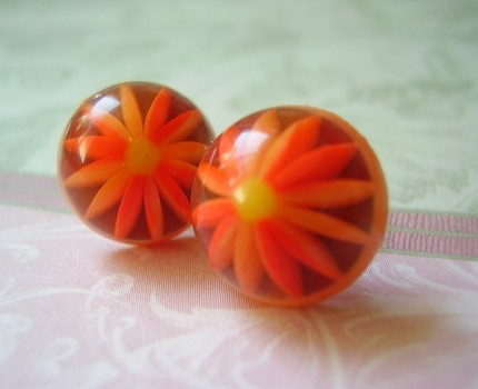 Vintage Orange Flower Stud Earrings